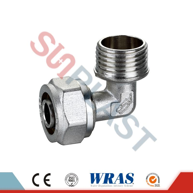 Brass Compression Male Elbow For PEX-AL-PEX Multilayer Pipe