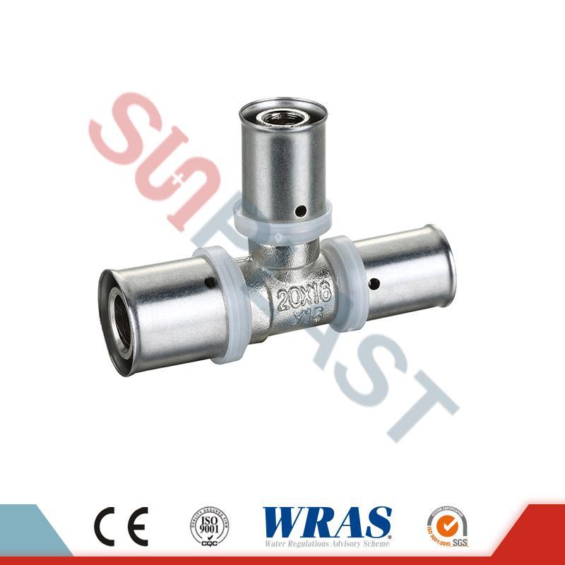 Brass Press Equal Tee For PEX-AL-Multilayer PEX Pipe